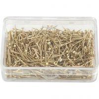 Kopspelden, L: 16 mm, dikte 0,65 mm, goud, 25 gr/ 1 doos