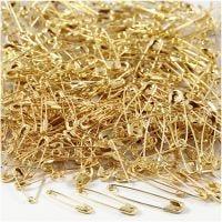 Veiligheidsspelden, L: 19+22+28 mm, dikte 0,5-0,6 mm, goud, 600 stuk/ 1 doos