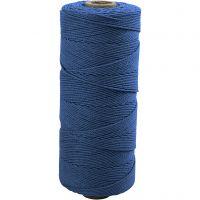 Katoenkoord, L: 315 m, dikte 1 mm, Dunne kwaliteit 12/12, blauw, 220 gr/ 1 bol