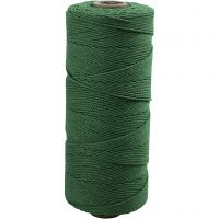 Katoenkoord, L: 315 m, dikte 1 mm, Dunne kwaliteit 12/12, groen, 220 gr/ 1 bol