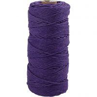 Katoenkoord, L: 100 m, dikte 2 mm, Dikke kwaliteit 12/36, violet, 225 gr/ 1 bol