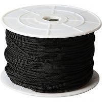 Polyester koord, dikte 2 mm, zwart, 50 m/ 1 rol