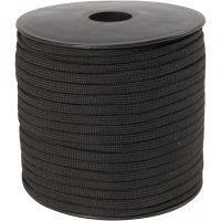 Macramé koord, B: 5 mm, zwart, 50 m/ 1 rol