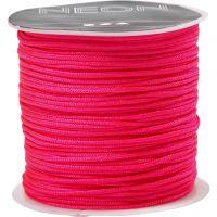 Macramé koord, dikte 1 mm, neon roze, 28 m/ 1 rol