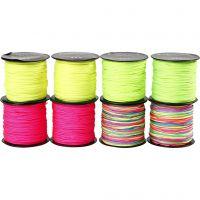 Macramé koord, dikte 1 mm, neon groen, neon roze, neon geel, neonmix, 8x28 m/ 1 doos