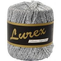Lurex glitter garen, L: 160 m, zilver, 25 gr/ 1 bol