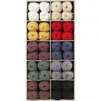 Textielgaren, L: 45 m, diverse kleuren, 100 bol/ 1 doos