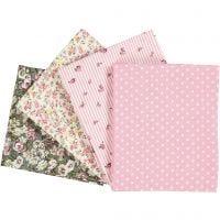 Patchwork stof, afm 45x55 cm, 100 gr, roze, 4 stuk/ 1 doos