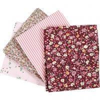Patchwork stof, afm 45x55 cm, 100 gr, roze, 4 stuk/ 1 bol
