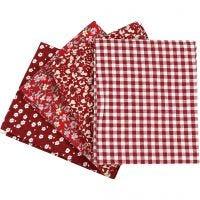 Patchwork stof, afm 45x55 cm, 100 gr, rood, 4 stuk/ 1 bol