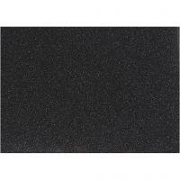 Opstrijkfolie, 148x210 mm, glitter, zwart, 1 vel