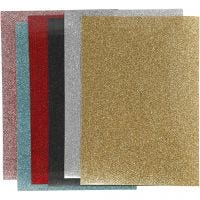 Opstrijkfolie, 148x210 mm, glitter, diverse kleuren, 6 vel/ 1 doos