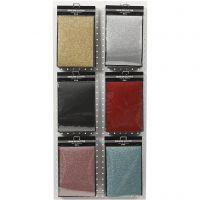 Opstrijkfolie, 148x210 mm, glitter, diverse kleuren, 6x10 vel/ 1 doos