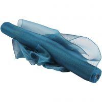 Organza stof, B: 50 cm, glossy, turquoise, 10 m/ 1 rol