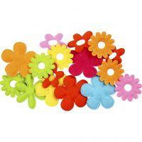 Bloemen van vilt, afm 35x45 mm, 16 stuk/ 1 doos