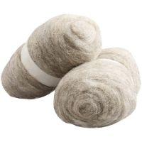 Gekaarde wol, naturel, 2x100 gr/ 1 doos