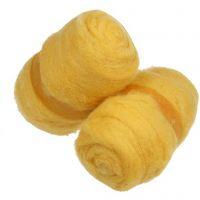 Gekaarde wol, geel, 2x100 gr/ 1 bol