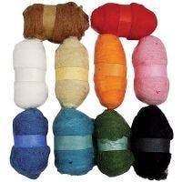 Laine cardée - Assortiment, couleurs assorties, 10x25 gr/ 1 Pq.