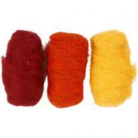 Gekaarde wol, geel/terracotta harmonie, 3x10 gr/ 1 doos