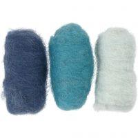 Gekaarde wol, blauw harmonie, 3x10 gr/ 1 doos