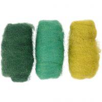 Gekaarde wol, groen/turquoise harmonie, 3x10 gr/ 1 doos