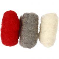 Gekaarde wol, rood/wit harmonie, 3x10 gr/ 1 doos