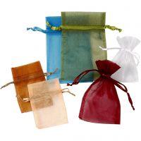 Organza zakjes, afm 7x10+10x15 cm, diverse kleuren, 30 stuk/ 1 doos