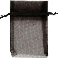 Organza zakjes, afm 7x10 cm, zwart, 10 stuk/ 1 doos