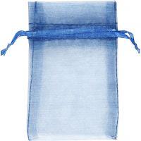Organza zakjes, afm 7x10 cm, blauw, 10 stuk/ 1 doos