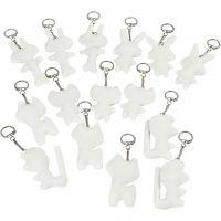 Figuren van textiel met sleutelhanger, afm 6-10 cm, wit, 15 stuk/ 1 doos