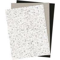 Faux Leather Papier, 21x27,5+21x28,5+21x29,5 cm, dikte 0,55 mm, unikleurig,met folie,bedrukt, 3 vel/ 1 doos