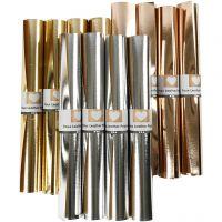 Faux Leather Papier , B: 49 cm, dikte 0,55 mm, unikleurig,met folie, goud, roze goud, zilver, 12x1 m/ 1 doos