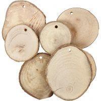 Houten schijven met gat, d: 40-70 mm, gatgrootte 4 mm, dikte 5 mm, 25 stuk/ 1 doos