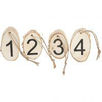 Houten schijven met adventcijfers, 4 stuk/ 1 doos