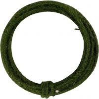 Fil de jute, ép. 2-4 mm, vert, 3 m/ 1 Pq.