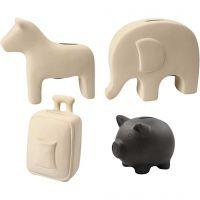 Spaarpotten, H: 10-16 cm, zwart, wit, 4x8 stuk/ 1 karton