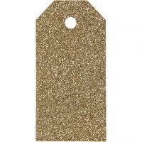Cadeaulabels, afm 5x10 cm, glitter, 300 gr, goud, 15 stuk/ 1 doos