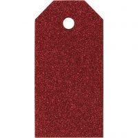 Cadeaulabels, afm 5x10 cm, 300 gr, rood, 15 stuk/ 1 doos