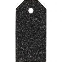 Cadeaulabels, afm 5x10 cm, glitter, 300 gr, zwart, 15 stuk/ 1 doos