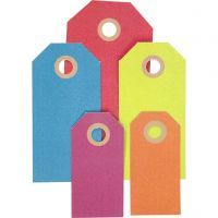 Cadeaulabels, afm 3x6+4x8+5x10 cm, 220 gr, diverse kleuren, 500 stuk/ 1 doos