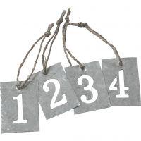 Labels van zink, 4 stuk/ 1 set