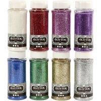 Glitter, diverse kleuren, 8x110 gr/ 1 doos