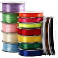 Satijn lint, diverse kleuren, 15 rol/ 1 doos