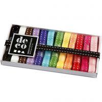 Lint collectie, B: 10 mm, diverse kleuren, 12x1 m/ 1 doos