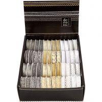 Lint, B: 5-10 mm, goud, zilver, wit, 48x2 m/ 1 doos