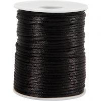 Satijnkoord, dikte 2 mm, zwart, 50 m/ 1 rol