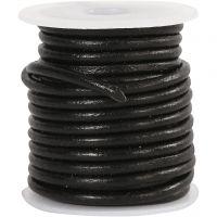 Leerkoord, dikte 3 mm, zwart, 5 m/ 1 rol