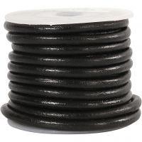 Leerkoord, dikte 4 mm, zwart, 5 m/ 1 rol