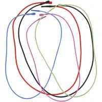 Elastische ketting met sluiting, L: 46 cm, dikte 1,65 mm, diverse kleuren, 5 div/ 1 doos