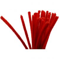 Chenilledraad, L: 30 cm, dikte 9 mm, rood, 25 stuk/ 1 doos